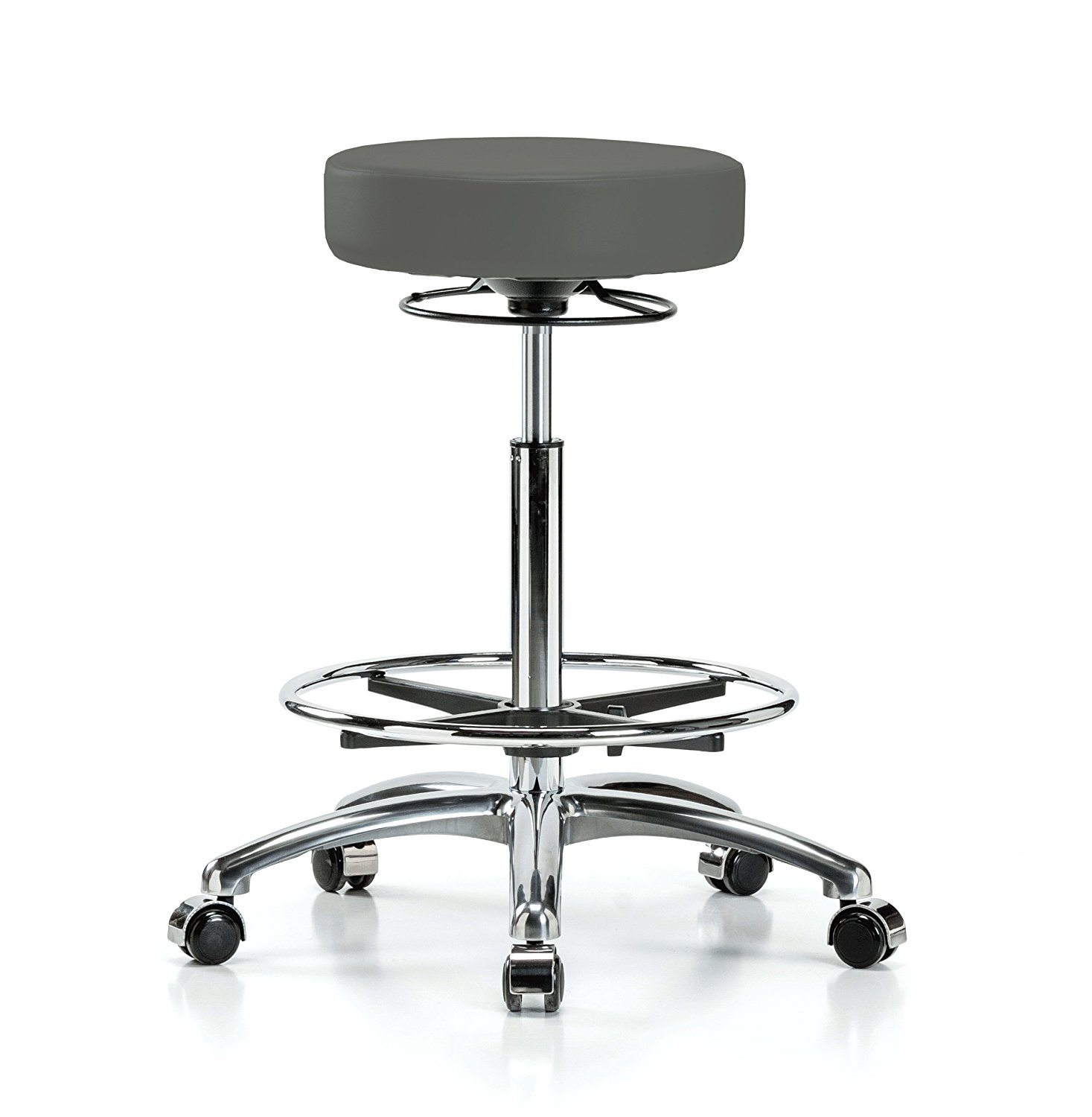 """Perch Chrome 360-Degree Rolling Massage Therapy Swivel Stool Adjustable Backless with Footring 24"""" - 34"""" (Hard Floor Casters/Charcoal Vinyl)"""