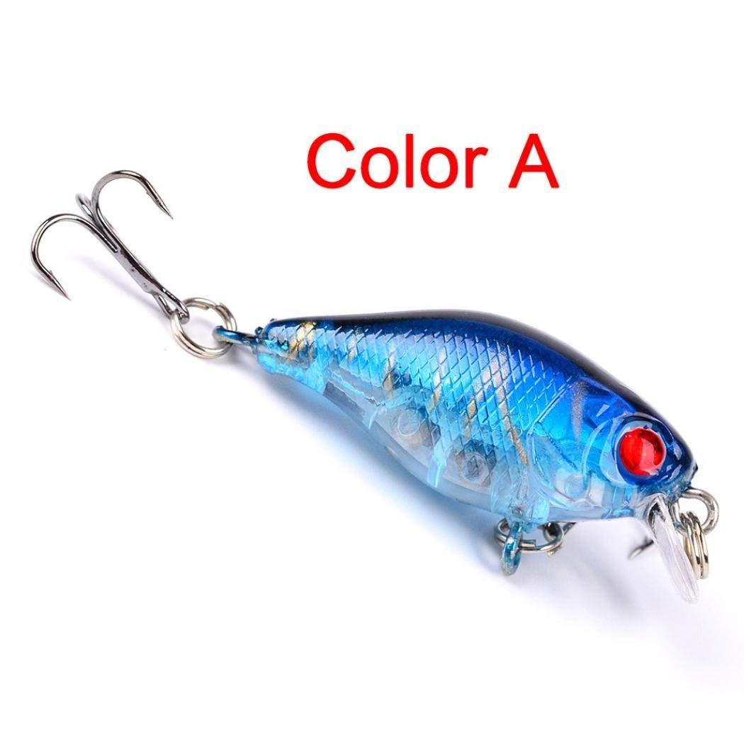Rumas 1Pc 3D Fishing Lure Hook, Bass Tuna Catfish Fishing Bait, Freshwater Saltwater Crankbait Jerkbait (A)