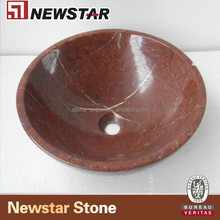 Red Hand Carved Public Marble Sink