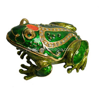 pewter frog jewellery box,frog metal trinket box,Forest animal crafts