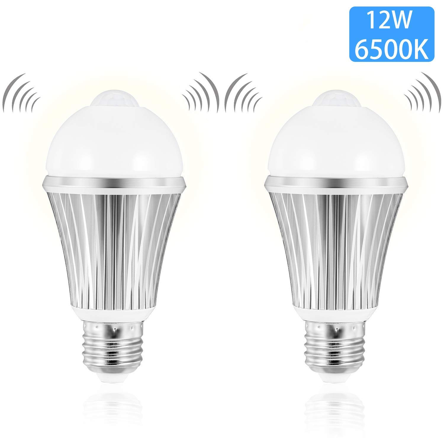 Motion Sensor Light Bulb, Witshine LED 12W 1000LM 100W Equivalent, Dusk to Dawn Ambilent Light Sensor, E26 Base Indoor Outdoor Light Bulbs Cool White 6500K for Wall Lighting Porch (2 Pack)