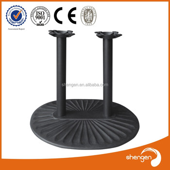 HD028 Antique Cast Iron Flat Steel End Table Bases Fluted Table Legs