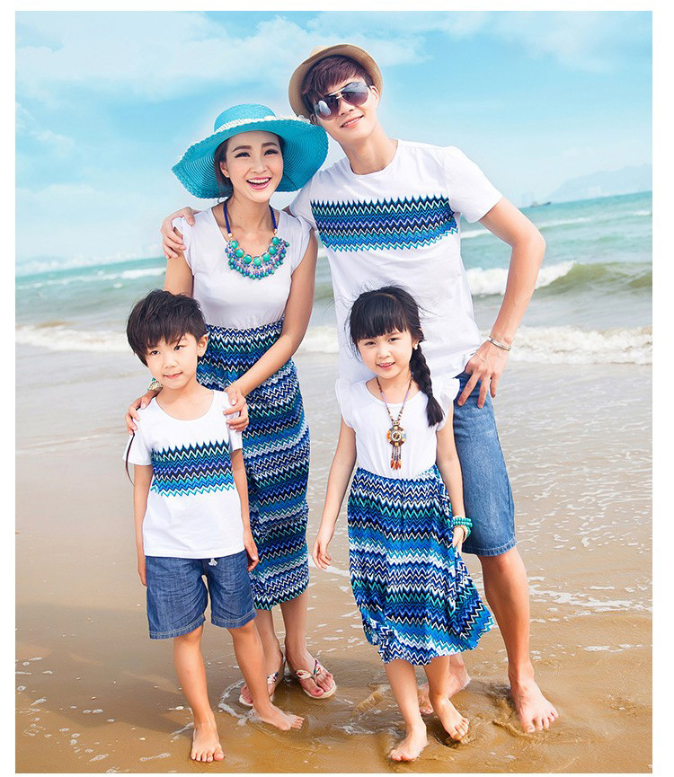 Mother Daughter Dresses Wave Pattern Family Matching Clothes Summer Cotton T shirt Family Look Beach Wear 2016