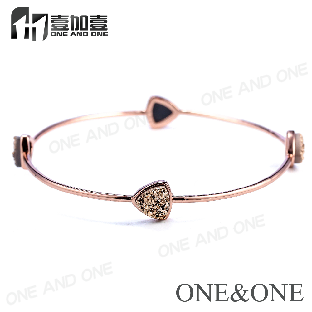 2017 Fashion Rose Gold Druzy Bracelets Druzy Aura Quartz Crystal Agate Bangle Natural Gemstonn Jewelry