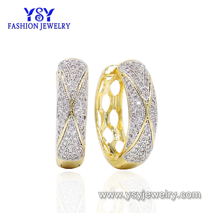 Full Zircon Crystal Jewelry copper hoop earrings brazil for girl