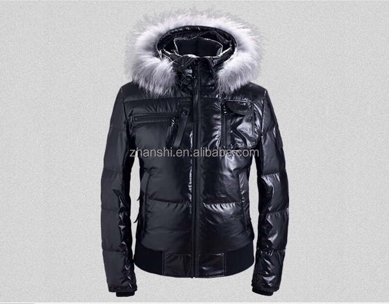 Winter Fashion Black Hooded Fox Fur Trim Turkish Leather Jacket Lightweight Goose  Down Coats Men 2b4cec61ddd7