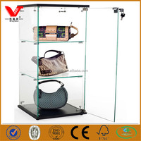High quality retail clothing store lady's leather bag small glass showcase cabinets