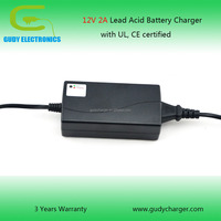 12V 2A AGM VRLA GEL battery charger with cUL, CE certified