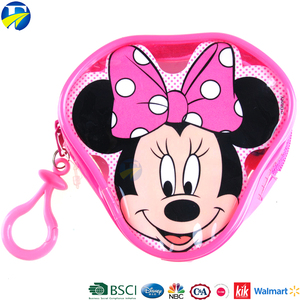 FJ brand cartoon character small lovely pink pvc zipper wallet custom coin purse for kids