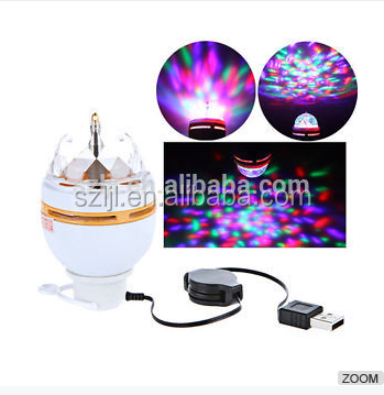 Auto RGB Stage Light Full color Crystal Magic Ball DJ lights dance party rotating Bulb effect Lamp projector