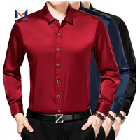 Stylish Luxury Classic High Quality Custom Design Pattern Long Sleeve Silk Long Shirt For Men