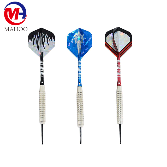 9 Packs Steel Tip Darts 22 Grams Aluminum Shafts,Steel Barrels dart flights,an Extra Round Dart Sharpener Included