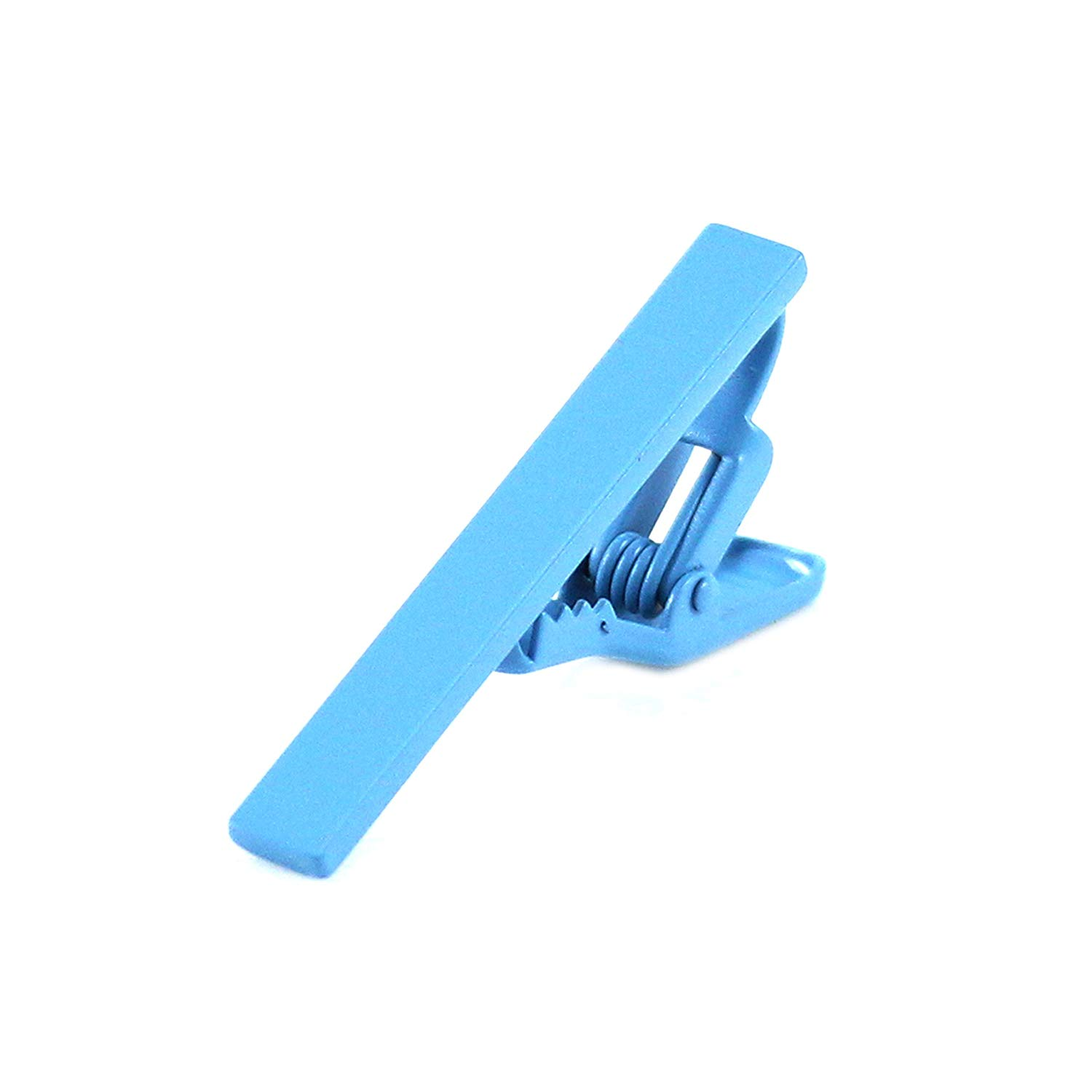 MENDEPOT Fashion Matte Sky Blue Slim Tie Clip With Gift Box