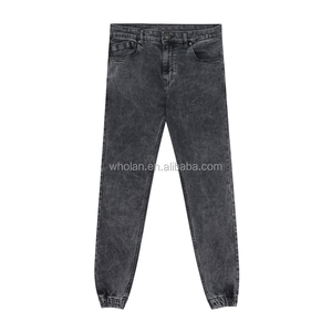 Men Fashion Cheap Cotton Garment Washed Slim Fit Tight Joggers Pant
