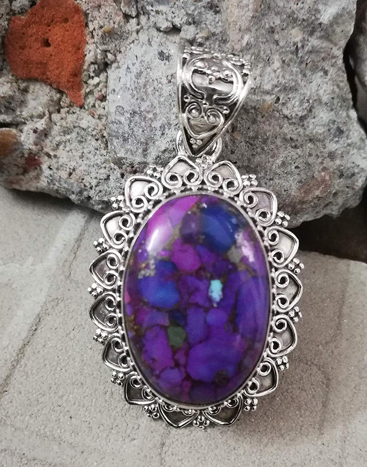 Purple Copper Turquoise Pendant 925 Sterling Silver Personalised Pendant Natural Gemstone Jewelry Exquisite Design Pendant Victorian & Filigree Pendant Charming & Top Pendant Waw Amazing Jewelry Gift