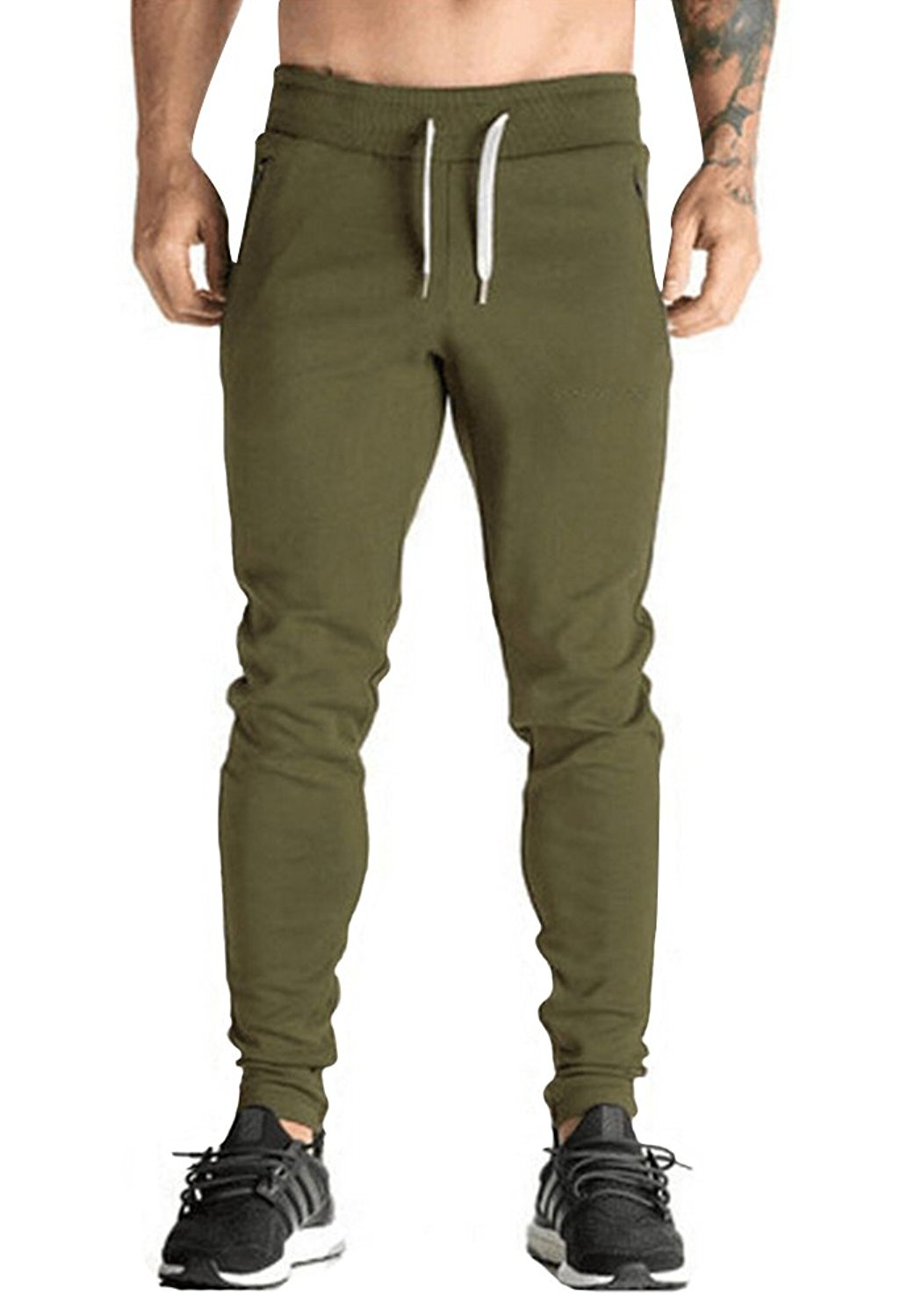 Coolred-Men Pockets Zipper Solid-Colored Drawstring Sport Casual Sweatpant