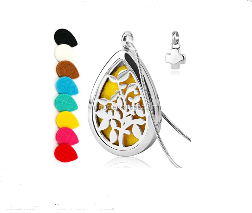 new jewelry 2017 Teardrop Aromatherapy Essential Oil Diffuser Necklace with cross charm