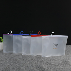 Custom Printing Translucent Plastic PVC Slider Bags Frosted Zipper Packaging Pouch For Garment