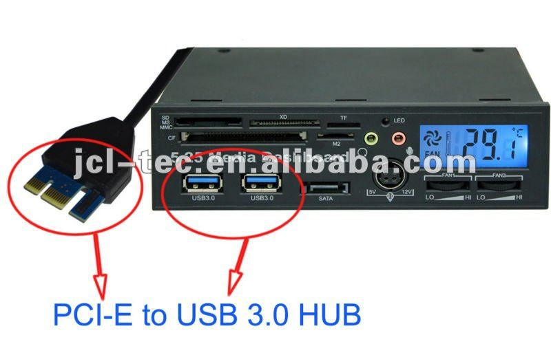 Pci Express Pci-e Usb 3.0 Hub With 5.25 Internal Usb2.0 All In One ...