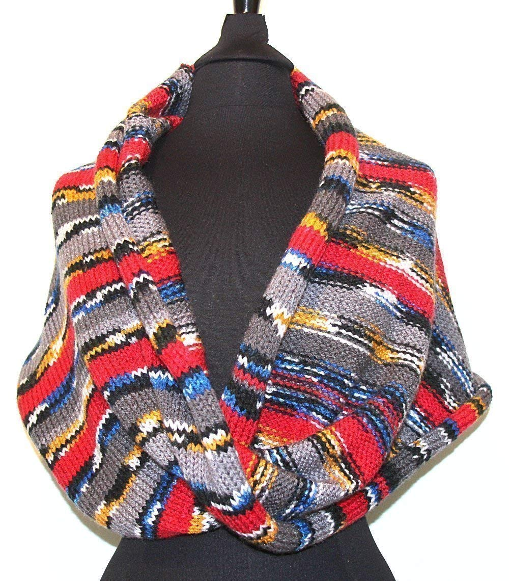 """Infinity Winter Shawl Scarf 24"""" Wide Oversized Handcrafted Knit """"Zel"""" Wrap - 6 Tapestry Colors & 5 Sizes"""