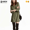 Woven viscose fabric v neck fashion dress for ladies