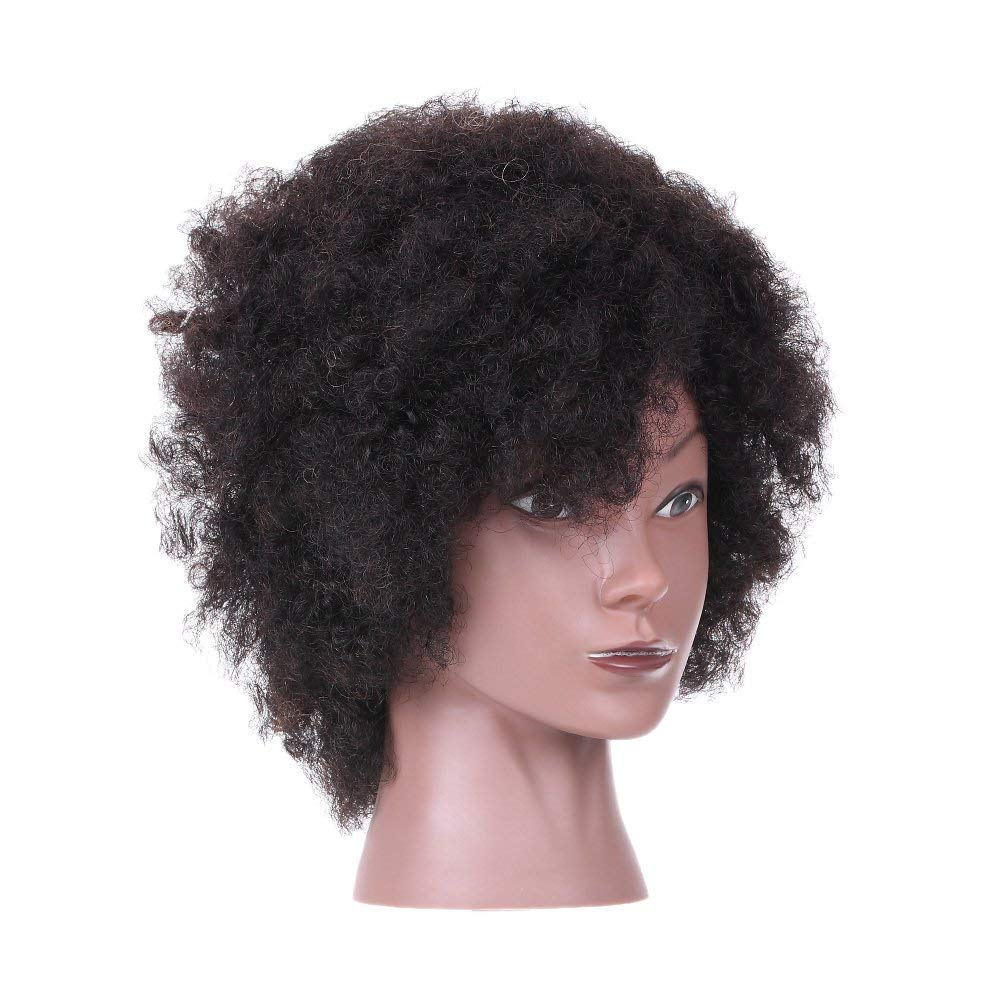 27894029f4862 Get Quotations · Anself Afro Mannequin Head Hairdressing Training Head for  Practice Styling Braiding with 100% Human Hair