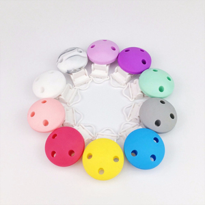 BPA Free Food Grade Silicone Suspender Clip Beads Round Shape Plastic Dummy Clip Silicone Pacifier Clip