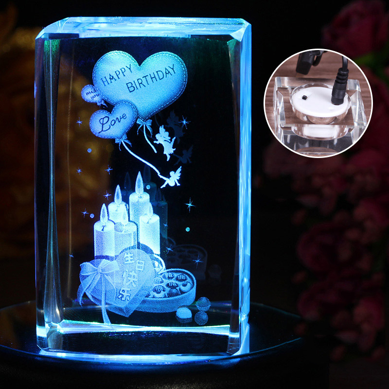 Hot selling good quality 3D magic glass cube photo frame