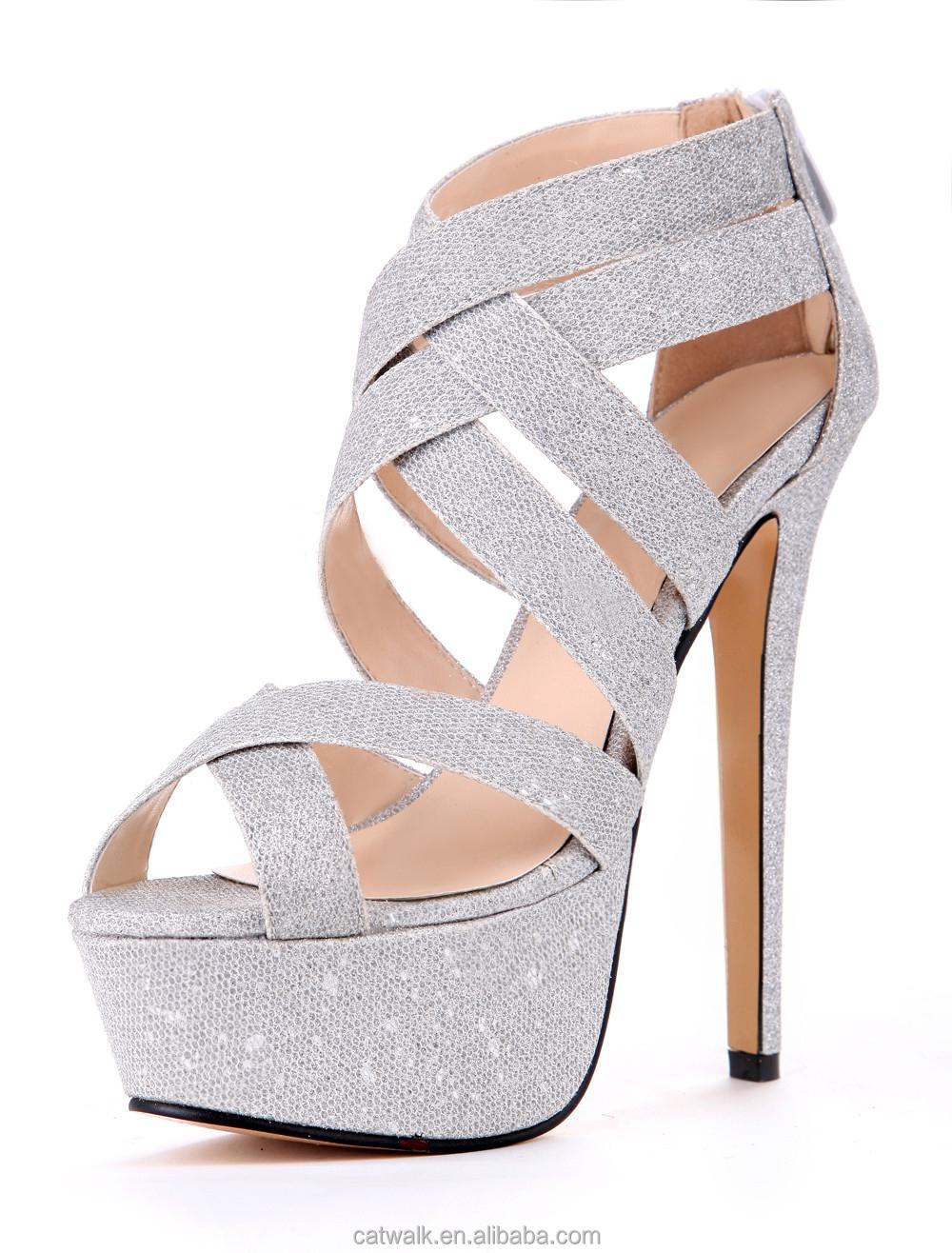 Sexy Silver Gitter Cloth Stiletto Heel Gladiator Sandals For Women ...