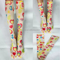 Wholesale custom knee high heart print silk stockings, compression socks prints, digital print socks