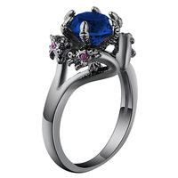 Black ring Chinese wind four dragon around design blue zircon ring unisex engagement ring