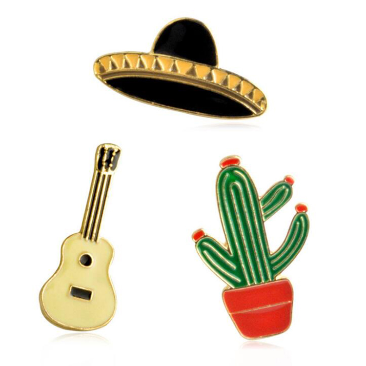 JTBR0001 Yiwu Huilin Jewelry Hot Sale Brooch High Cartoon Pin Hat the cactus guitar brooch