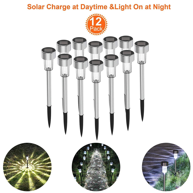Solar Lights Outdoor Solar Driveway Lights 12Pack Stainless Steel LED Solar Pathway Lights, Solar Lawn Light Solar Garden Light Waterproof (Silver) (Silver)