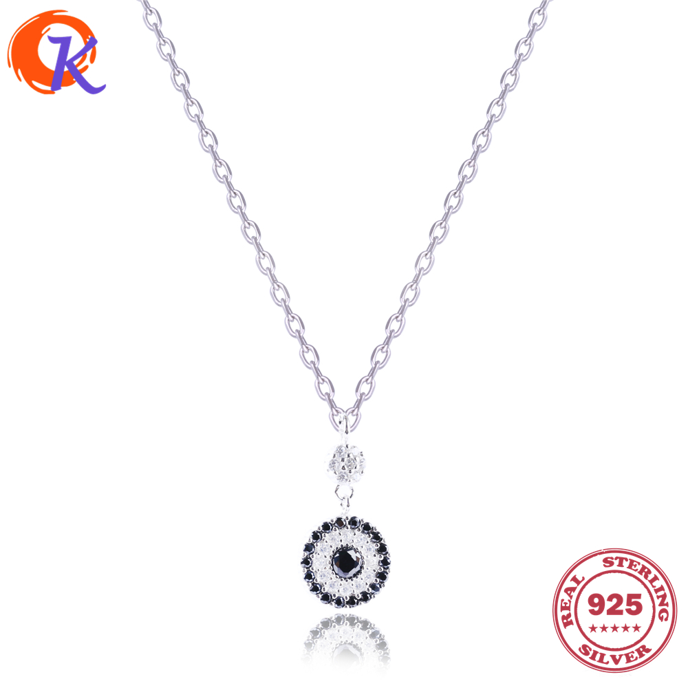 Fashion 925 Sterling Black Cubic Zirconia Crystal Clock Eye Pendant Necklace For Women Long Chain Friendship Jewelry CDSN-0034