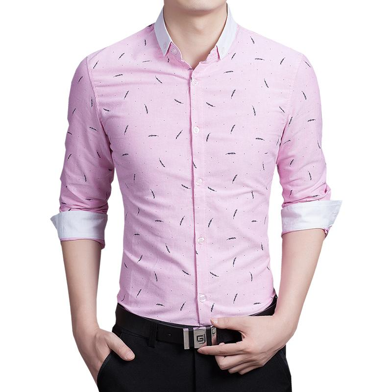 df19076aa53 Get Quotations · 2015 New Hot Autumn Cool Cotton Brand Dress Shirts Men  Casual Pink Blue White Wheat Print