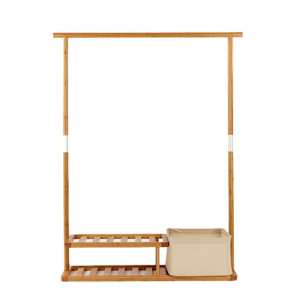 COAT RACK Free Standing, Solid Wood With Double Layer Shelf, Coat And Hat Rack With Storage Basket, Bedroom Entrance Hall Combination Hanger