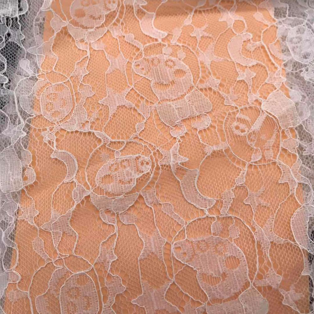 Ramah Lingkungan Putih Nigeria Swiss Guipure Kabel Lace Fabric untuk Wedding Dress