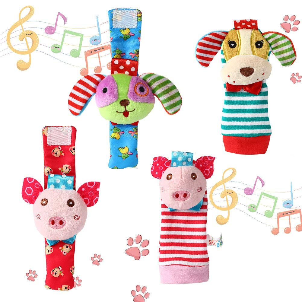 GoaPly Baby Rattle,Baby Wrist Rattles and Foot Finder Set Sock Toys[4 PCS],Developmental Soft Animal Rattles Infant Baby Toys,Educational Development Soft Animal Toy Shower Gift(Puppy and Piggy)