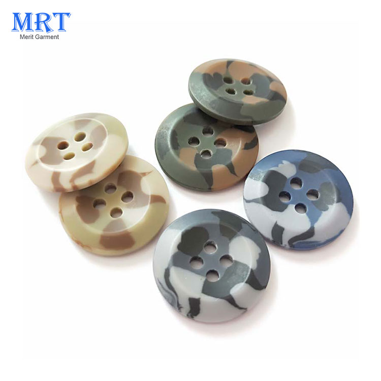 Wholesale Camouflage Garment Accessories Clothes 4 Holes Custom Resin Button