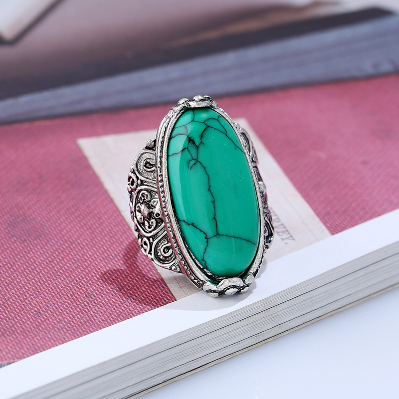 plated turquoise with zirconia beautiful stone rhodium cubic ring stones rings