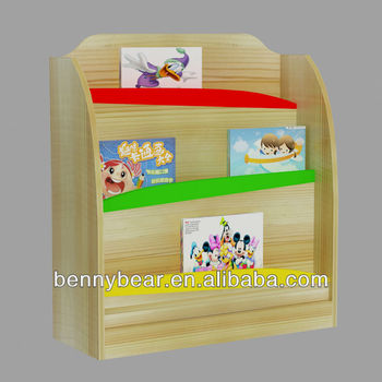 Kindergarten Furniture Solid Wood Bookshelf