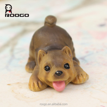 Roogo resin cast animal 3d cartoon pet dog ornaments for kids toys