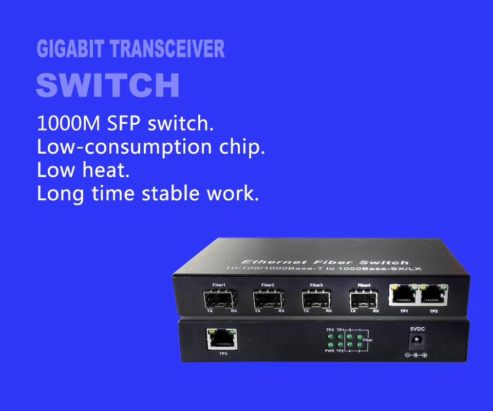 Hot gigabit fiber sfp port media converter 4 port sfp RJ45 3 4G3E ethernet  optical fiber switch FTTH