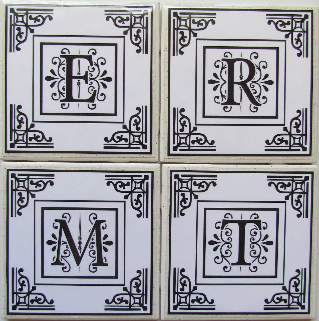 "Personalized Coasters - Initials - Set of 4-4"" x 4"" - Tile Coasters - Monogram Coasters - Drink Coasters - Marble Coasters - Ceramic Coasters - Stone Coasters - Bar Coasters - Table Coaste"
