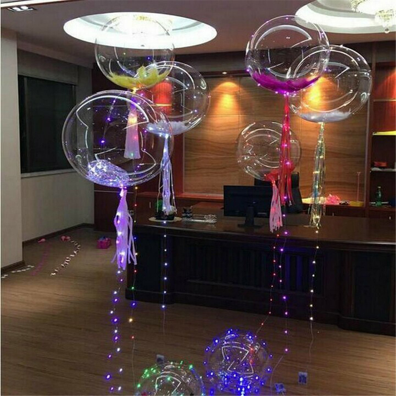 2019 Christmas New Year Party Decoration Super Clear Transparent Led Bubble Balloon With 80cm Long Stick Can Use Air