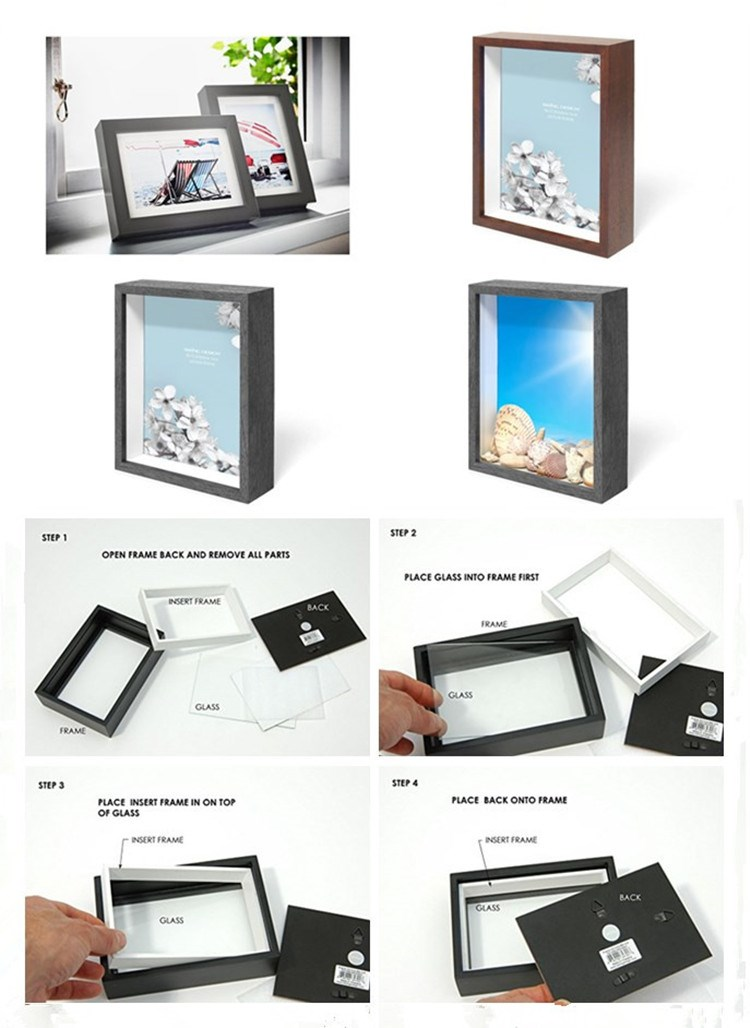 Professional manufacture white wood 3d deep shadow box photo frame / customized size wall art shadow box photo frame