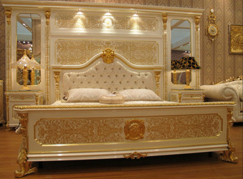 New White Gold Colour Luxury Plated European Style Bedroom Furniture Set Moq