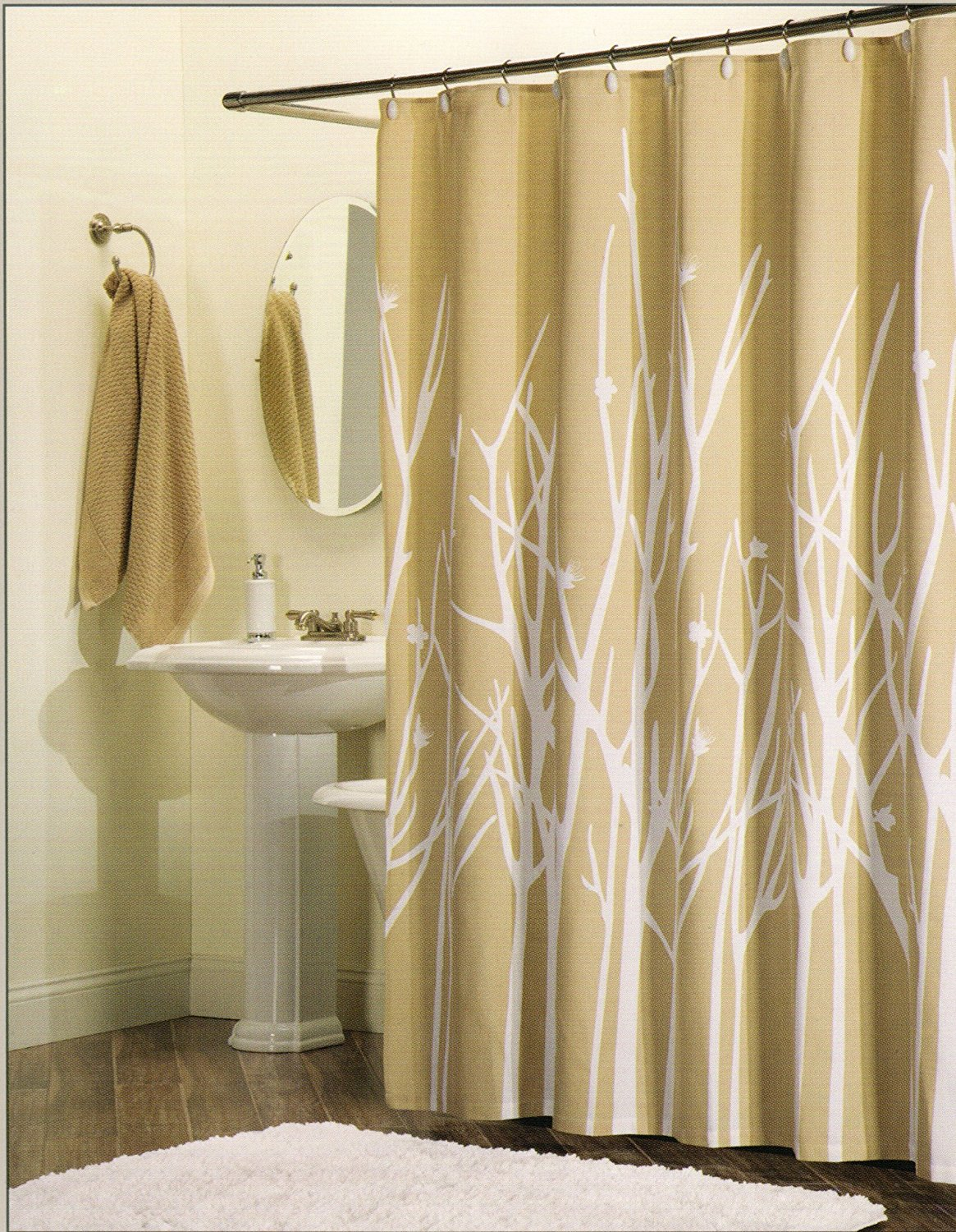 Get Quotations 100 Percent Cotton Shower Curtain Branches White Beige Tan 72 Inch By