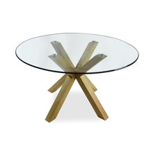 Round glass top and solid wood dining table set