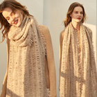 Bohemian style soft WOOL tassel scarf that knitting from good wool